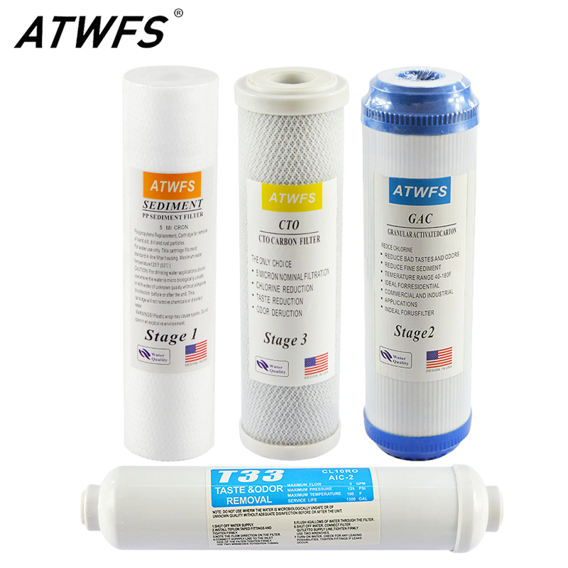 ATWFS 4ขั้นตอนเครื่องกรองน้ำระบบตลับหมึกเครื่องกรอง10 ''PPผ้าฝ้ายFiliterเปิดใช้งานคาร์บอนT33 Reverse Osmosis-ใน ตลับไส้กรองน้ำ จาก เครื่องใช้ในบ้าน บน AliExpress - 11.11_สิบเอ็ด สิบเอ็ดวันคนโสด 1