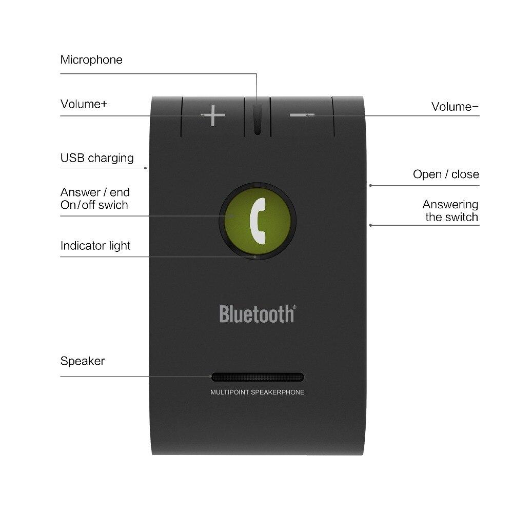 Siparnuo Wilress Bluetooth Manos libres Altavoz Bluetooth Coche Manos - Electrónica del Automóvil