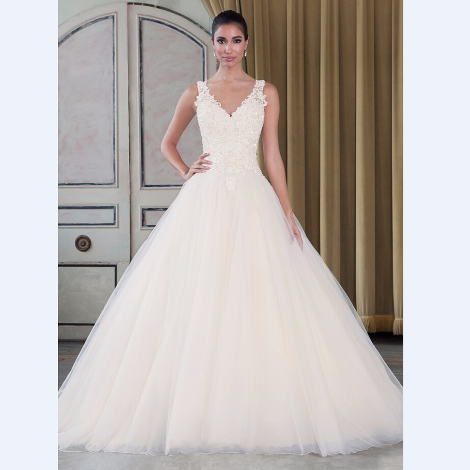 Elegant Ball Gown Wedding Dresses: High Quality Elegant V Neck Tulle Ball Gown Wedding Dress