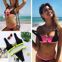 цена на Sexy Chest Zipper Bikini 2019 Padded Sport Bikini Set Swimwear Women Two piece set Swimsuits Female High waist Bathing Suit