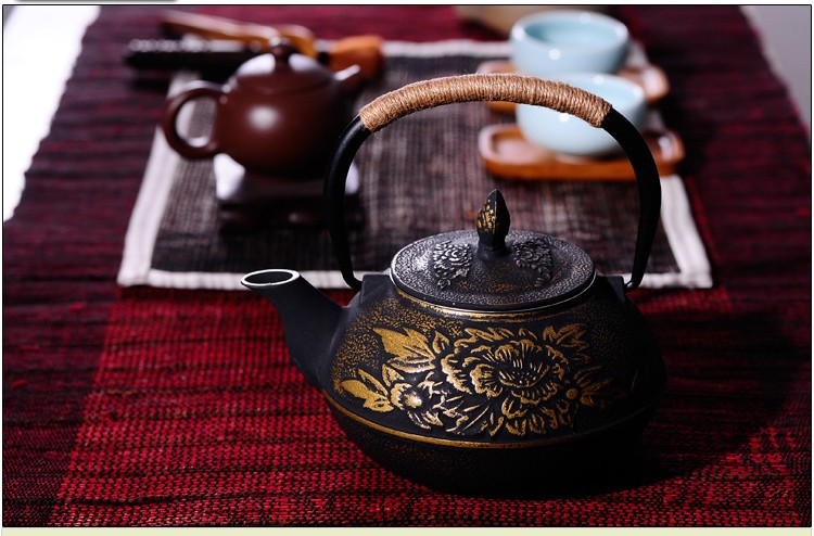 New 7 Chioces Cast Iron Teapot Set Japanese Tea Pot Tetsubin Kettle Enamel 900ml Kung Fu Infusers Metal Net Filter Cooking Tools 6