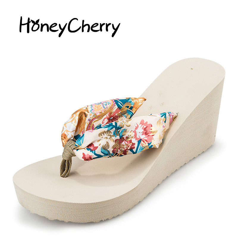 Flip Flops Silk Beach Shoes women Sandal Summer Shoes Platform Sandals Wedges Women's Shoes casual wedges sandals 2017 summer beach women shoes platform flip flops print sandal comfort creepers shoes woman