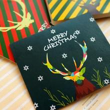 10 Pcs/lot Creative Christmas Elk Greeting Card Mini Paper Card Christmas Gift Card for Family and Friends Blessing Wish Card