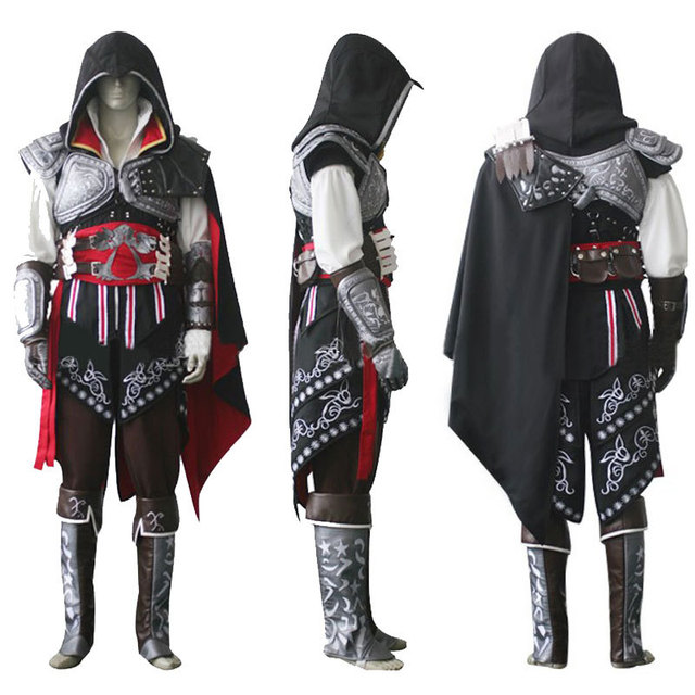Hot Assassin's Creed II Ezio Black Edition Cosplay Uniform Suit Halloween  Men Costumes Expedited Shipping