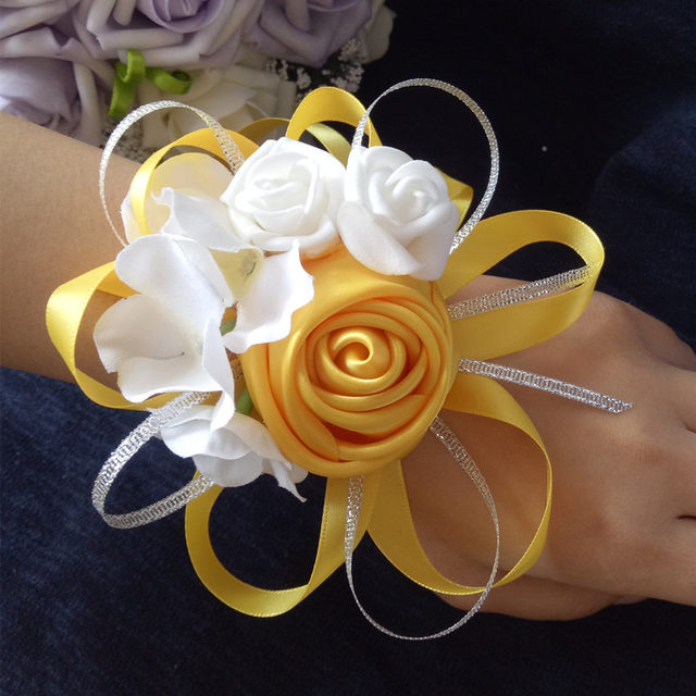 5pces Lot Wedding Wrist Corsages Bride Bridesmaids Hand Flowers Tiffany Blue Royal Purple Party Prom Women