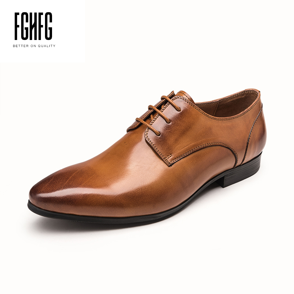 Classic Men's Oxfords Shoes Cowhide Leather Pig Inner Pointed Toe Genuine Leather Wedding Business Dress Shoes 2018 New Lace-up 247 classic leather