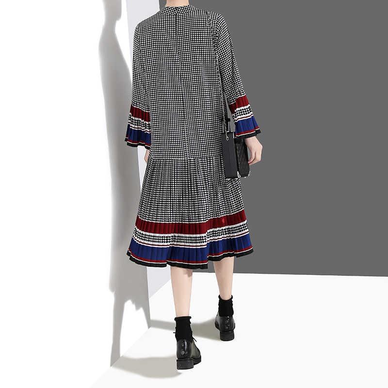 Nieuwe 2019 Vrouwen Mode Herfst Stijlvolle Elegante Zwarte Plaid Jurk Lange Flare Mouw Dames Casual Leuke Midi Jurk Robe Stijl 4629