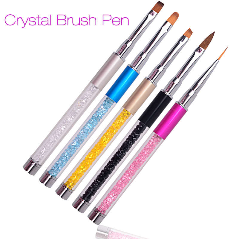 Nail Art Brush Pen Rhinestone Diamond Metal Acrylic Handle Carving Powder Gel Liquid Salon Liner Nail Brush With Cap 2017 New