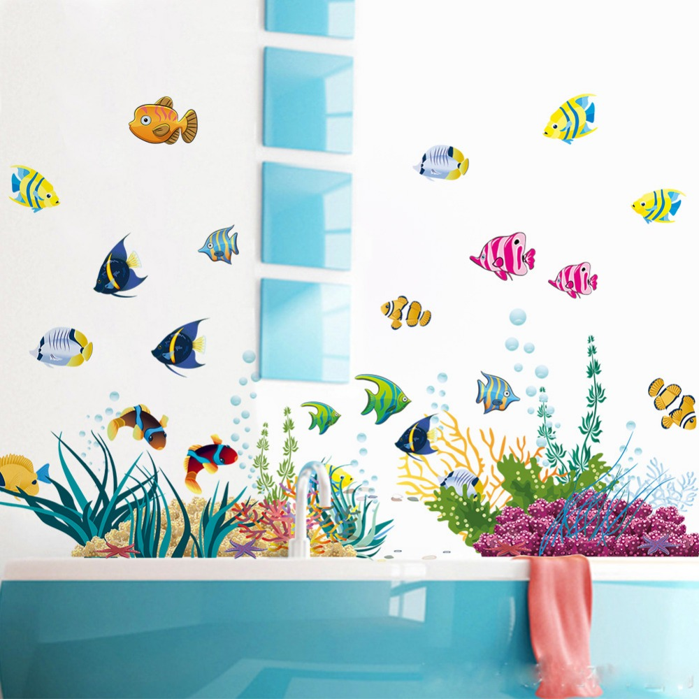 Bathroom wall art sea - Home Decor Underwater 1 Pc Wall Stickers Sea Fish Star Box Bathroom Kids Pvc Stickersv