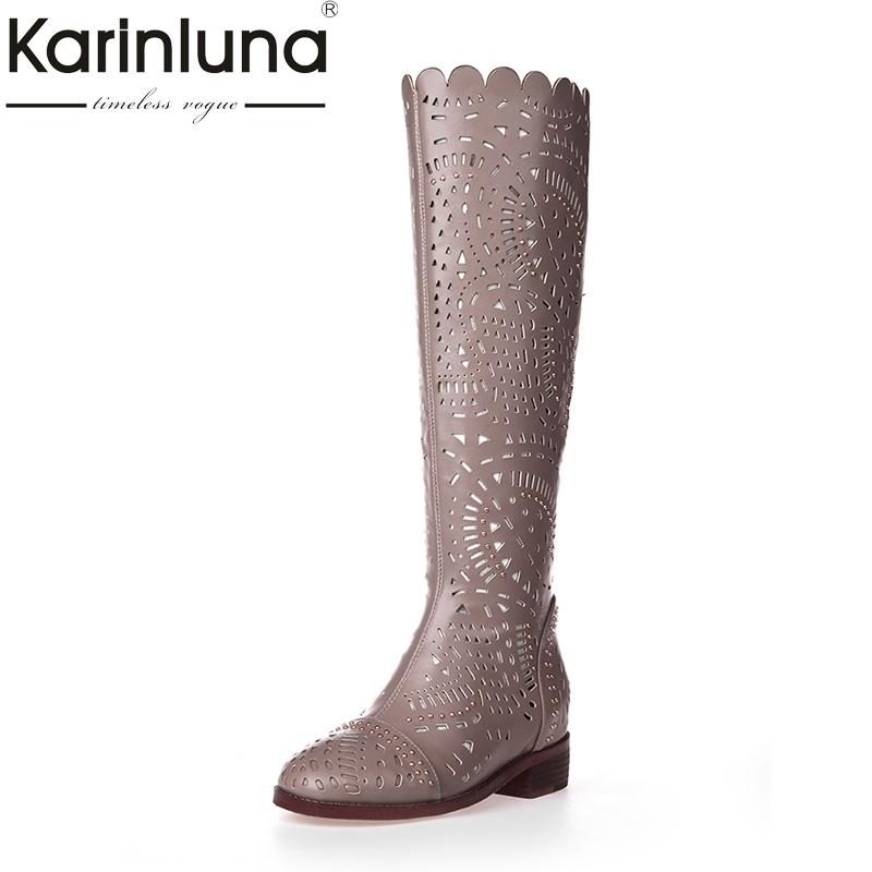 Karinluna 2018 Brand Design Shoes Women Spring Summer Boots Square Heels Knee High Boots Woman Shoes