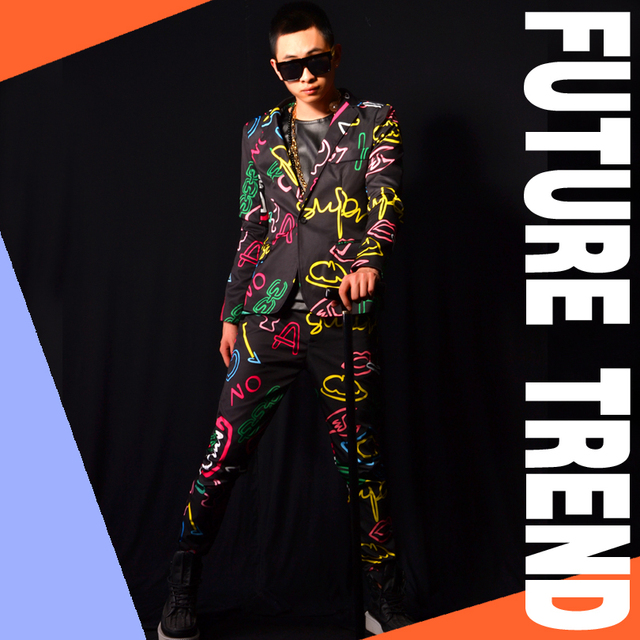 (jacket+pants)  suit set dancer singer troursers performance show nightclub clothing Blazer Outdoors Slim wear party casual prom
