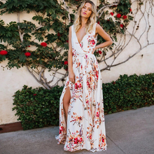 New Hot Sale 2019 Summer Womens Dress White Print Chiffon Bohemian Vacation Beach Split