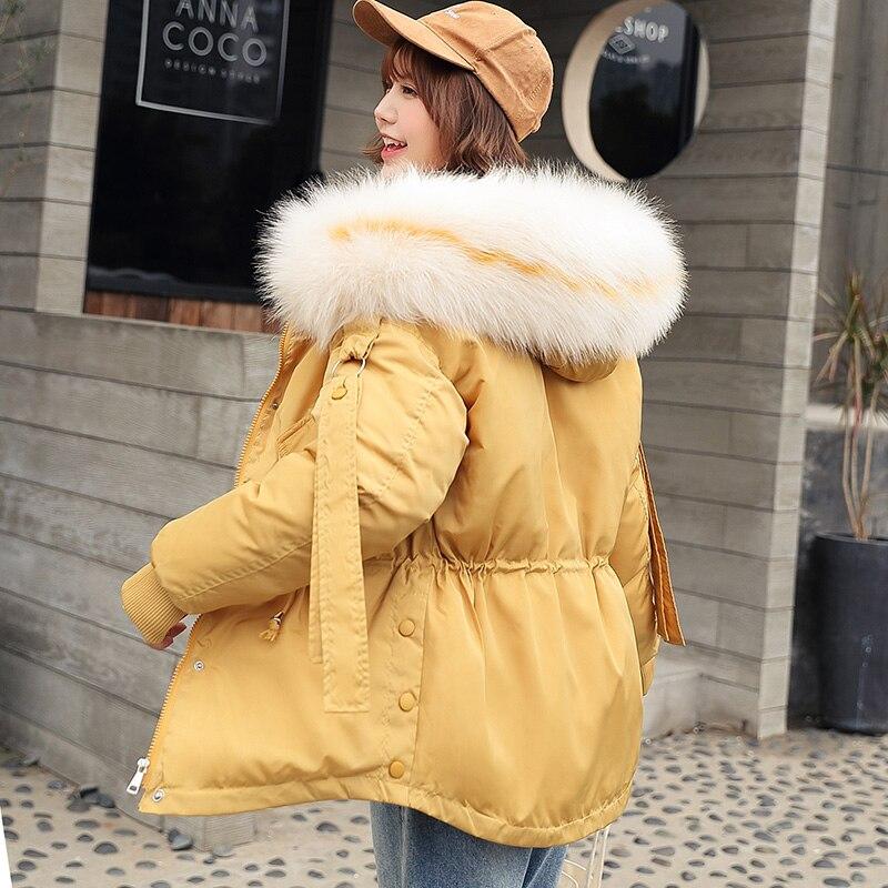 2019 Winter   Parkas   jacket for Women Thicken Warm hooded Jacket Coat Casual big fur collar outwear Collect waist   Parka   coat M-2XL