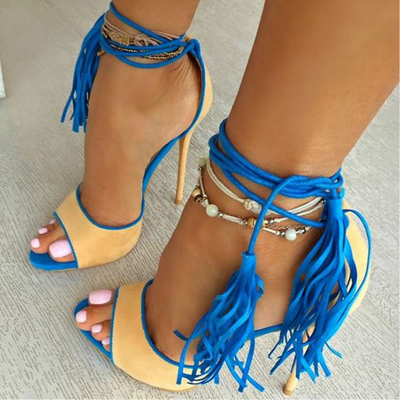 Fringed Woman High Heels Sandal Mixed Color Sexy Tassel Gladiator Sandals Lace up Peep toe Summer Party Dress Shoes Size 12 in High Heels from Shoes