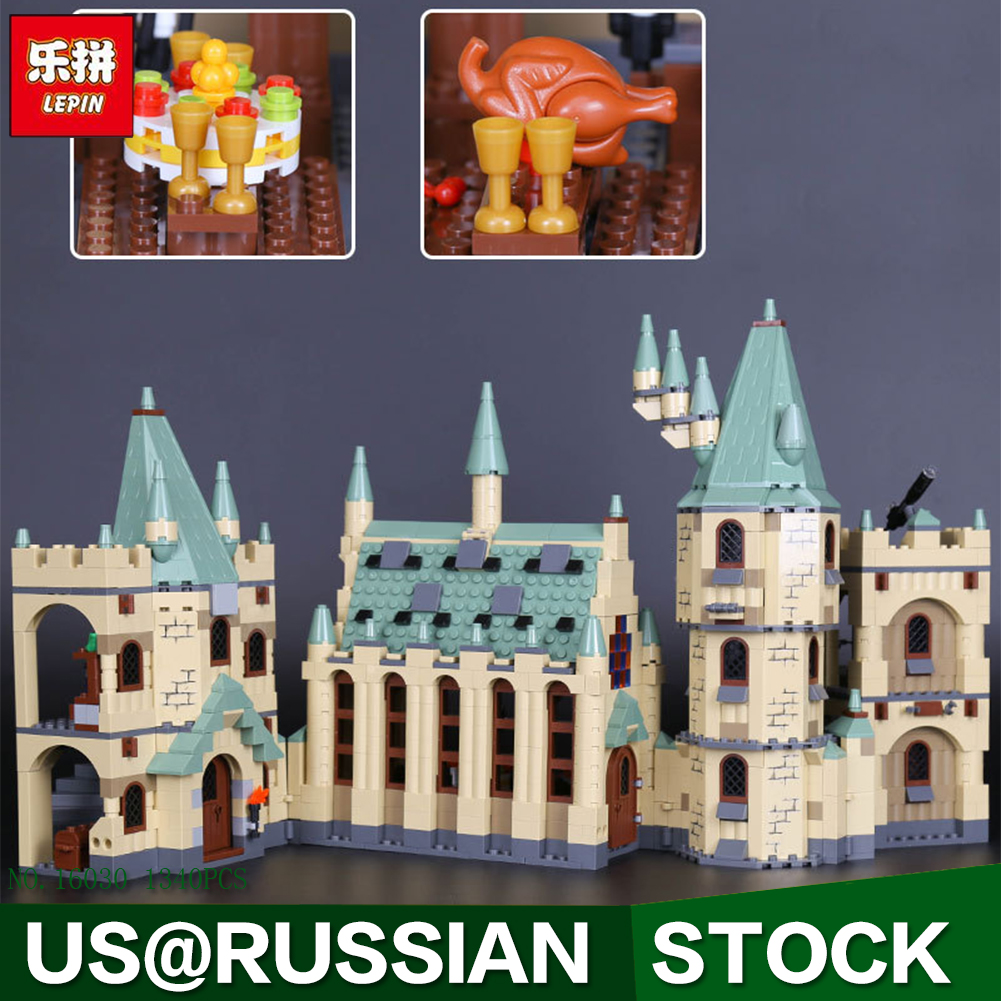 Lepin 16030 Movie Series The Hogwarts Castle Set 1340pcs Building Blocks Bricks Compatible 4842 Educational Toys Model As Gift lepin 16030 1340pcs movie series hogwarts city model building blocks bricks toys for children pirate caribbean gift