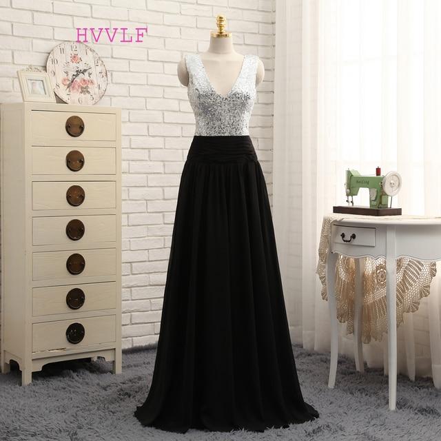 2018 Cheap Bridesmaid Dresses Under 50 A Line Deep V Neck Black