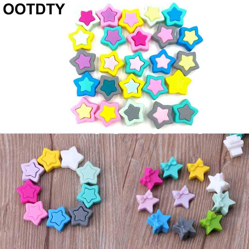 5pcs Silicone Beads Star Shape Food Grade Teether BPA Free Teething Necklace Bracelet Diy Jewelry Baby Teether Toy