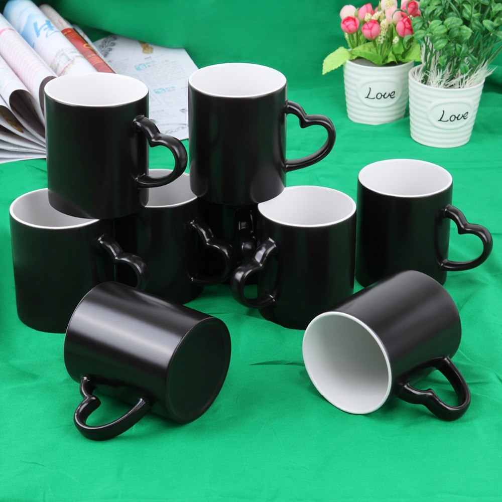(Ship from EU) 36pcs Sublimation 11Oz Black Coated Mug Magic Cups Changing Color Press Heat Press Print cheap manual swing away heat press machine for flatbed print 38 38cm