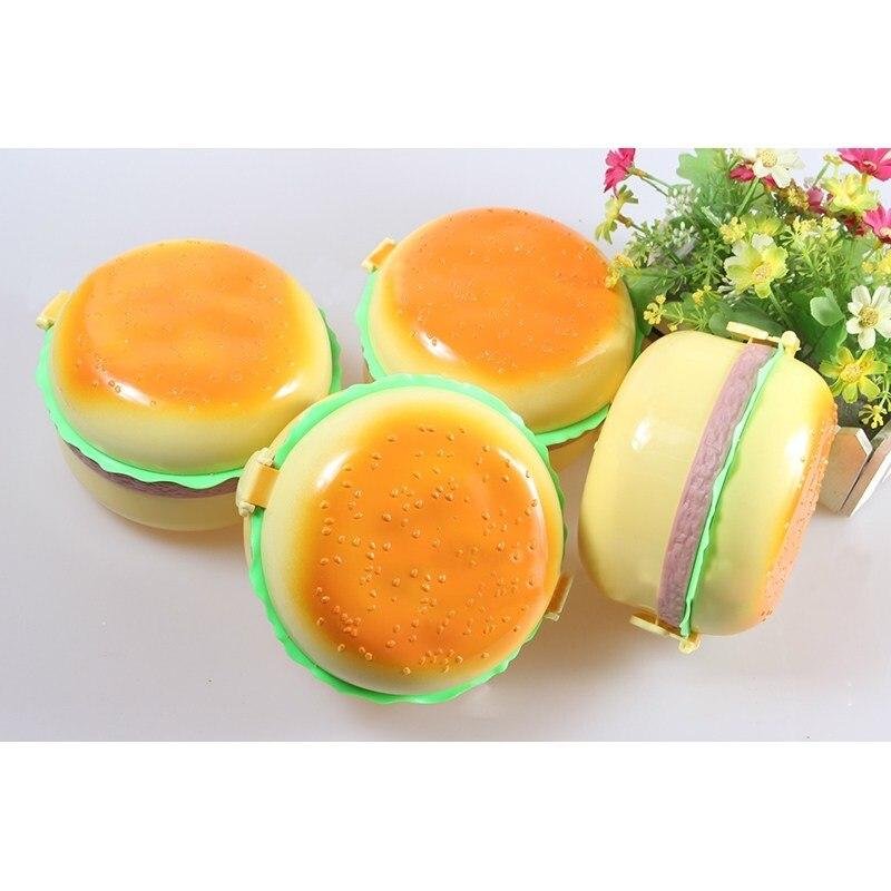 S/L милые детские гамбургер Форма Коробки для обедов Bento Box двойной Слои фруктов, овощей чаша Миски Детские Столовая посуда набор Кормовые при...