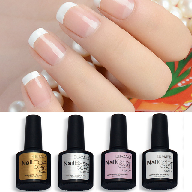 Burano 7 3ml Uv Led Soak Off Gel Nail Polish French Manicure Set Tip Top
