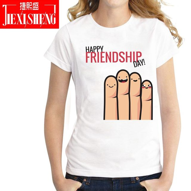 3d586471c 2018 HAPPY FRIENDSHIP DAY Letter printed women t shirt summer Short sleeve  o-neck t-shirts