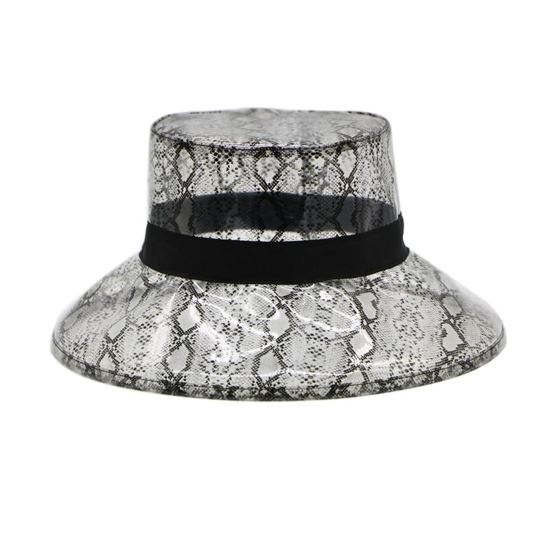 a73b84e3f11d1 Summer Transparent Women s PVC Snake Skin Bucket Hat For Women Ladies Beach  Visor Waterproof Rain Cap