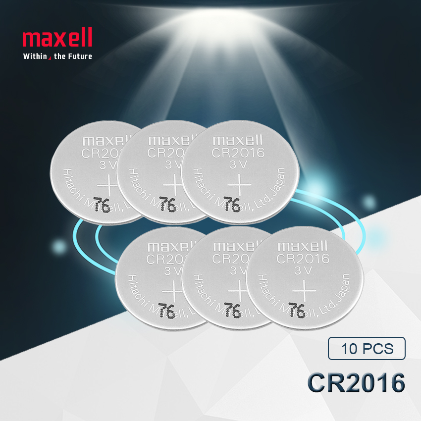 10pc maxell original brand new battery cr2016 3v button cell coin batteries for watch computer cr 2016 image
