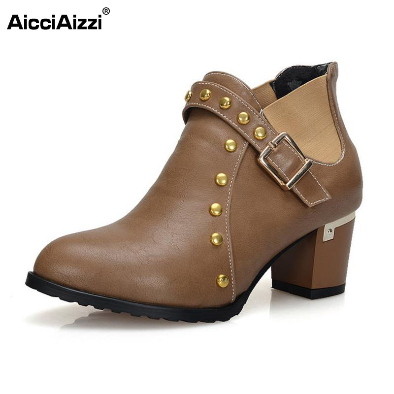 AicciAizzi Size 31-43 Sexy Women Ankle High Heel Boots Rivet Short Boots Warm Shoes Women Plush Fur Winter Botas Women Footwears ...