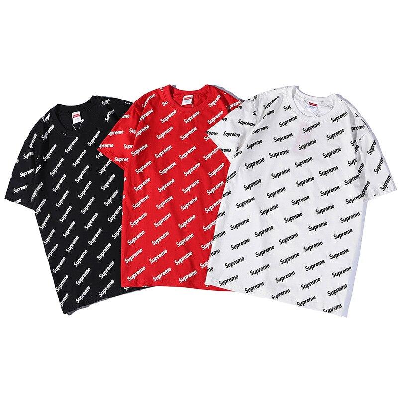 2019 été à manches courtes T-shirt explosion modèles mode personnalité lettre impression coton chemise à fond demi manches chaud