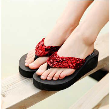 אדום קיץ נעלי נשים פלטפורמת סנדלי טרז כפכפים Sapato Feminino גבוהה העקב כפכפים Sandalias Mujer Plataforma Chanclas