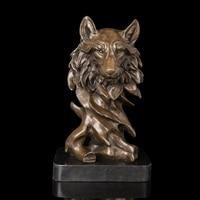Modern Sculpture High Quality Bronze sculptures Wolf Heads statue Artwork Office and Hotel Decor