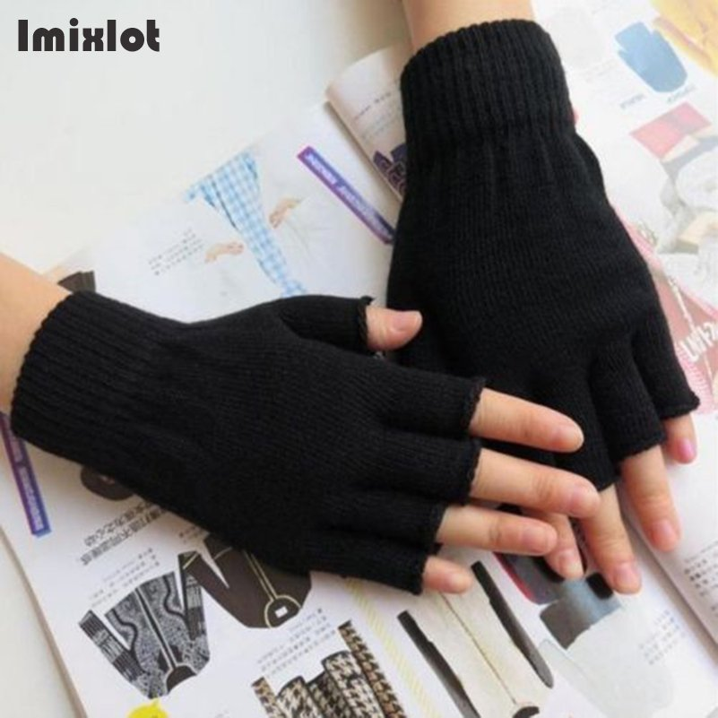 1pair Solid Short Half Finger Fingerless Wool Knit Wrist Glove Winter Warm Gloves Mittens For Women And Men