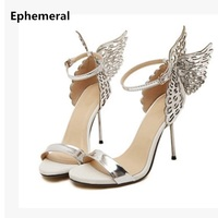 Lady Model show shoes Fashion Butterfly Wing Hot Sold Buckle strap Peep Toe Nigh club thin high heels Sandals Women Party Pumps