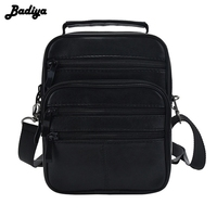 Genuine Leather Men Messenger Single Shoulder Bag Crossbody Pack 4 Size Black Handbag Multi Functional Portable