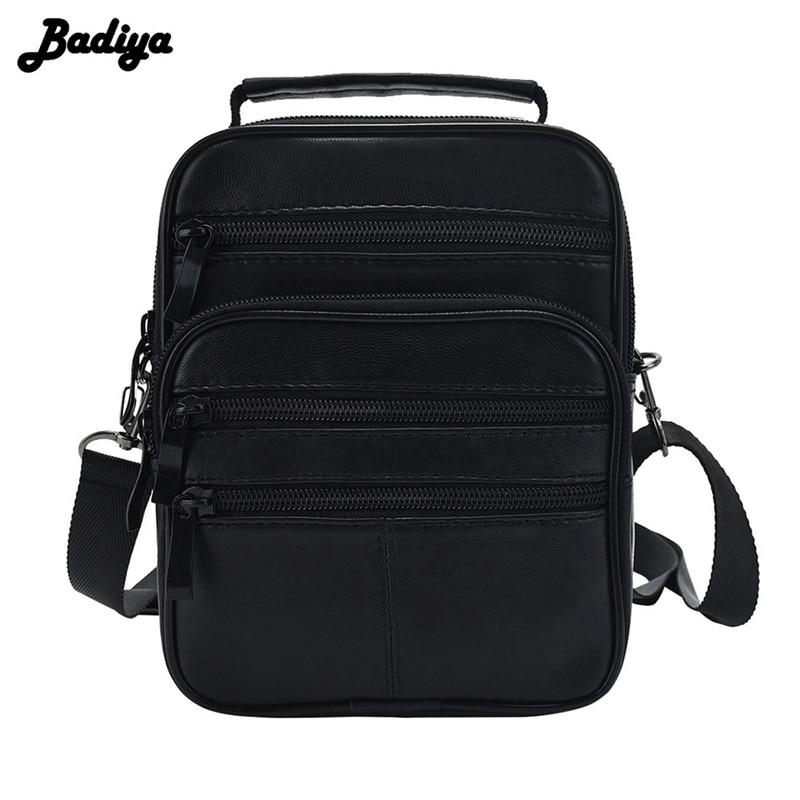 Genuine Leather Men Messenger Single Shoulder Bag Crossbody Pack 4 Size Black Handbag Multi-functional Portable Bags Male Bolsa 4 pack 30xl 30 xl black
