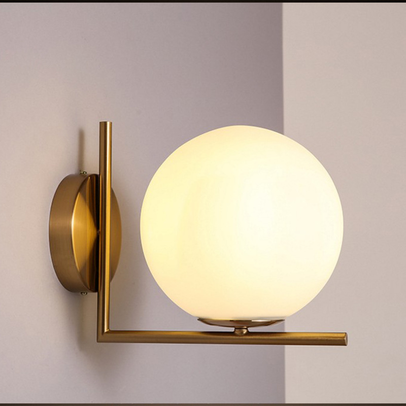 Modern simplified Nordic bedroom school bed headway iron glass ball LED wall lampModern simplified Nordic bedroom school bed headway iron glass ball LED wall lamp