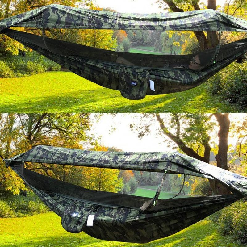 Портативный туристический гамак, на 1-2 человек, подвесная кровать из парашютной ткани, с Москитными и высокой прочностью, для отдыха на откр...
