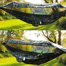 1-2 pessoa portátil acampamento ao ar livre hammock com alta qualit mosquito alta resistência parachute tecido pendurado cama caça balanço