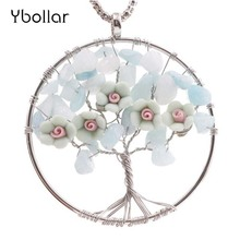 Handmade Women Jewelry Natural Stone Beads Clay Flower Pendant Necklace Wire Wrapped Leather Necklace Sweater Chain недорого