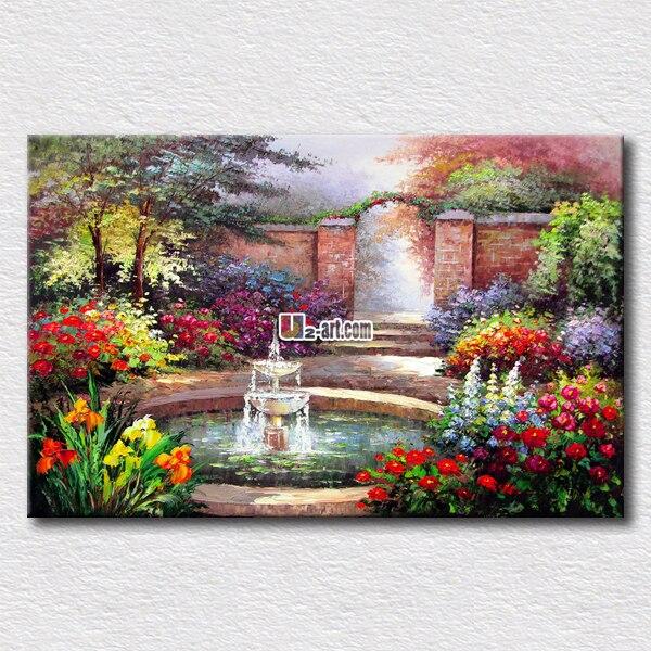 Pittura a olio di paesaggio piccoli fiori giardino dipinti per camera da letto decorazione - Dipinti per camera da letto ...