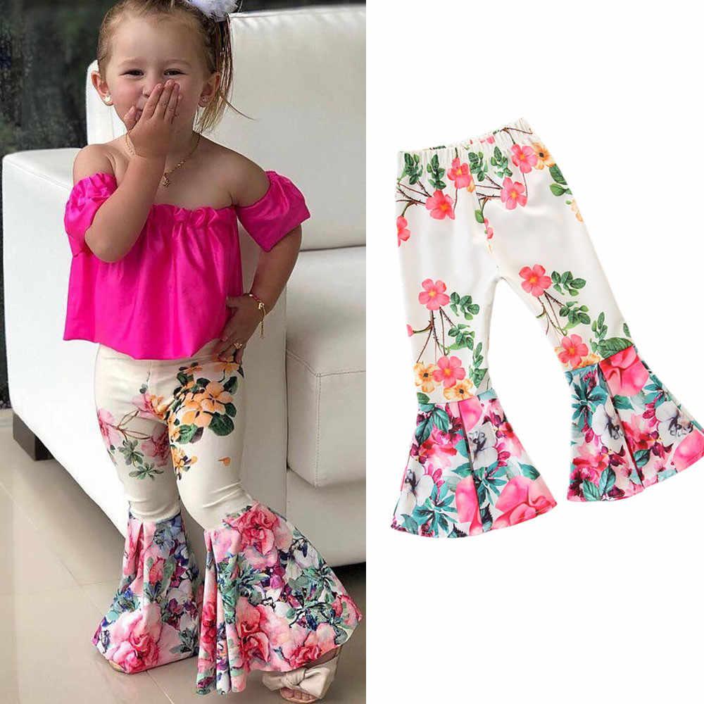 Musim Gugur Musim Dingin Anak Perempuan Celana Anak-anak Balita Bayi Anak Perempuan Legging Flare Celana Floral Bell-Bottoms Pakaian Anak Celana Dropshipping