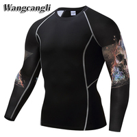 Mens Compression Shirt Skeleton Long Sleeve Breathable Quick Dry T Shirt Weight Lifting Bodybuilding Fitness Tight