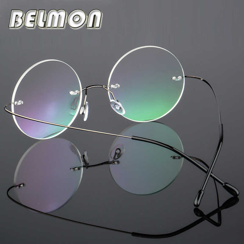 9ad93ff919 Round Rimless Spectacle Frame Women Men Vintage Ultra-light Eyeglasses  Computer Optical Eye Glasses For