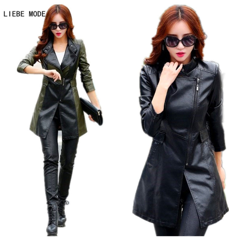 2018 Women Spring Autumn Plus Size Windbreaker Ladies Faux Leather Long Jackets British Runway Style Women Leather Trench Coats