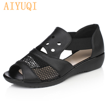 AIYUQI  High quality Genuine Leather woman sandals soft Casual women flats Summer Hollow Women Shoes Flat Bottom Mother Shoes summer mother shoes woman genuine leather soft outsole open toe sandals casual flat women shoes 2017 new fashion women sandals