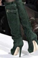Новые дизайнерские сапоги на платформе и высоком каблуке с пряжкой на ремешке, женские сапоги на шпильке из замши зеленого цвета высокого к