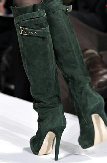New designer platform buckle strap high heel boots high quality green suede leather stiletto heel women boots winter long boots