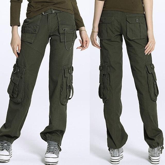 9b351efa0b95c New 2015 plus size Army Green Denim fatigue cargo pants women s overall