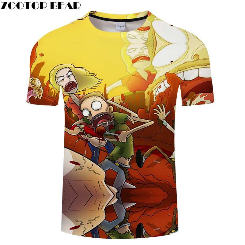 3D MEN Fighting for food Tee Short Sleeve tshirt Cartoon Funny Casual t shirt Summer t-shirt Round Nec Asian size s-6xl