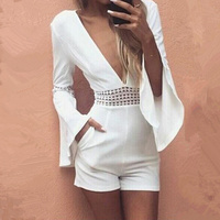 Women Summer White Short Sexy Rompers Jumpsuit Deep V Neck Long Flare Sleeve Beach Party Playsuits